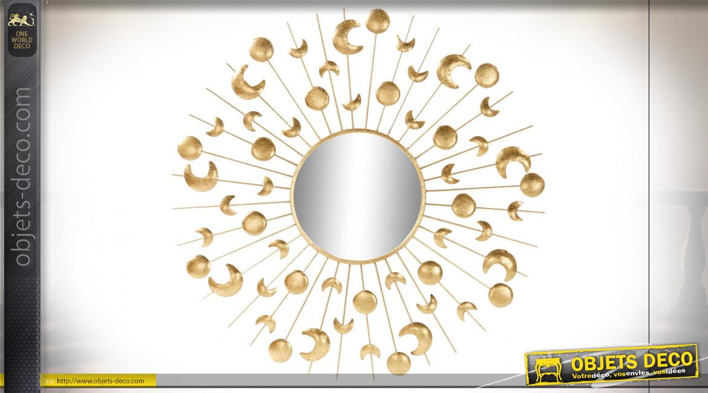 Miroir mural moderne lune et soleil en métal finition dorée, 86cm