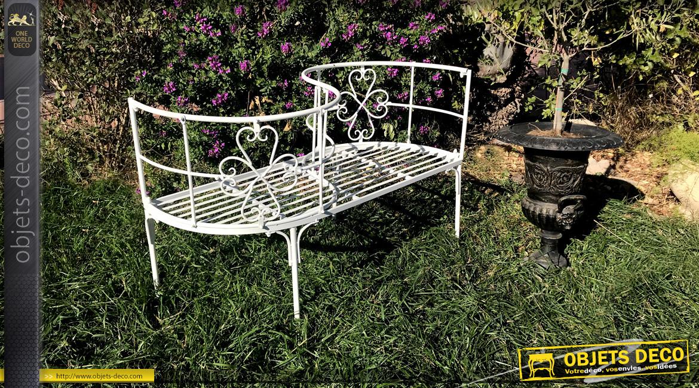 Banc de jardin en métal finition blanc laqué, modèle dit Toi et Moi, forme de S, original et élégant, 112cm