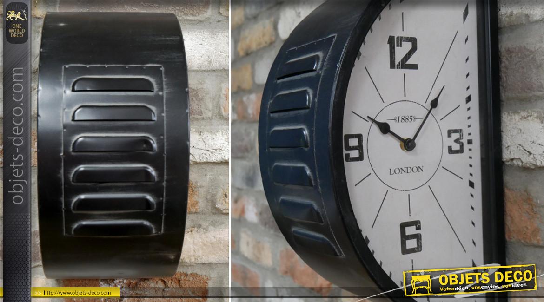 Horloge murale en métal double cadran, en demie lune esprit métro de Londres, finition noir charbon blanchi, 40cm