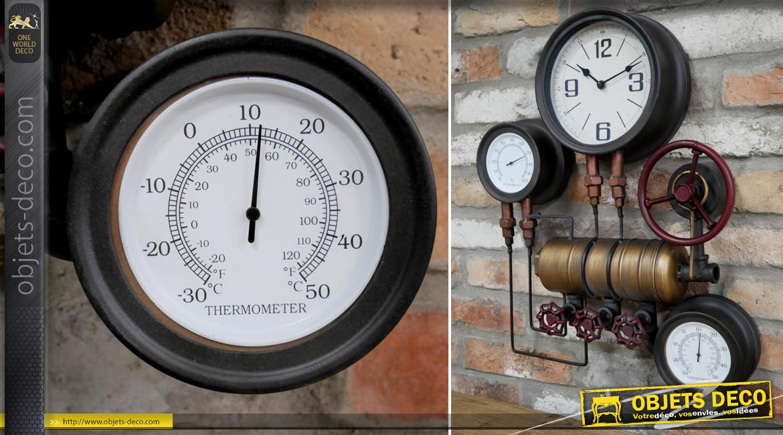 Horloge murale en métal de style industriel pur, esprit vannes et nanomètres ambiance salle des machines, 58cm