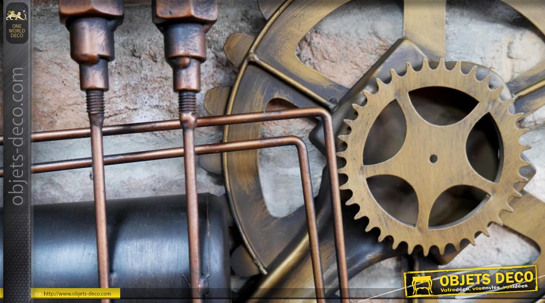 Horloge murale en métal de style industriel, ambiance engrenages et vannes de plomberie, finition laiton et cuivre, 53cm