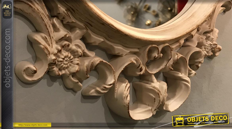 Miroir mural ovale de style baroque, ambiance ancienne coiffeuse classique, finition crème effet ancien, 53cm