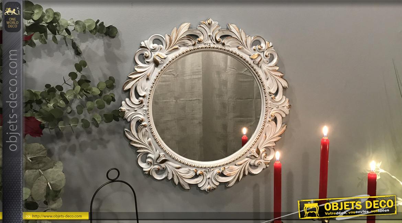 Miroir rond mural de style baroco romantique, finition blanc effet ancien avec reflets dorés, rosaces et arabesques, Ø50cm
