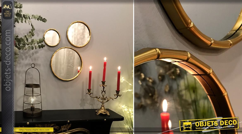 Série de trois miroirs ronds avec encadrements effet bambou, finition doré, ambiance chic moderne, Ø30cm