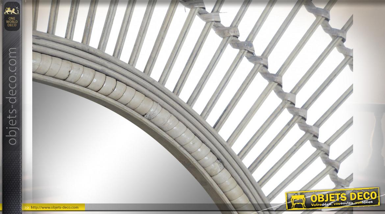 Miroir mural circulaire en bambou finition naturelle ambiance exotique, ? 80cm