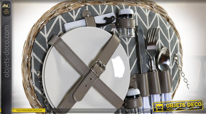 Panier de pique-nique oval en osier finition naturelle pour 2 personnes, 39cm