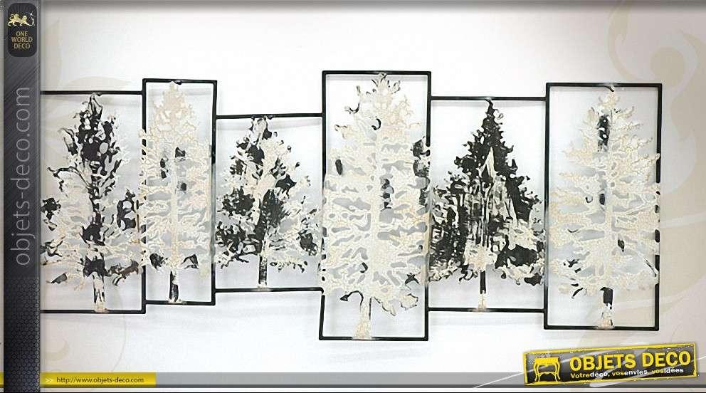 d coration murale en m tal p le m le d 39 arbres. Black Bedroom Furniture Sets. Home Design Ideas