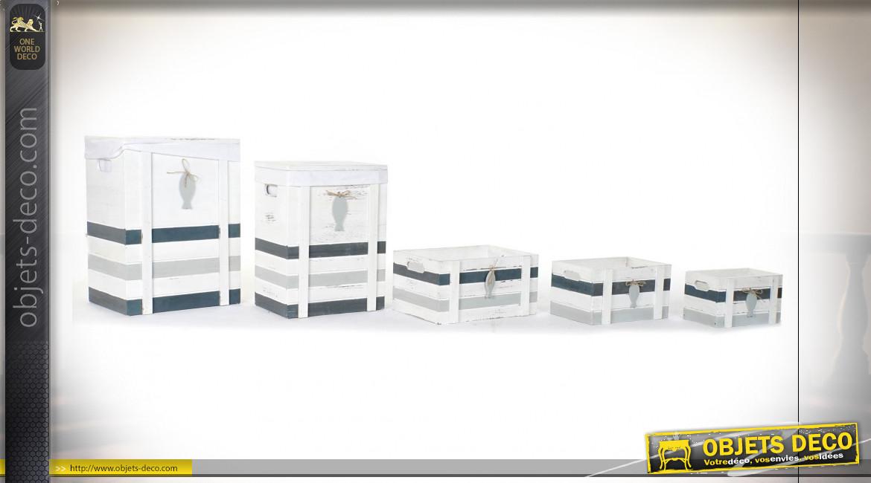 Série de 5 corbeilles en bois finition blanche et grise de style bord de mer, 55cm