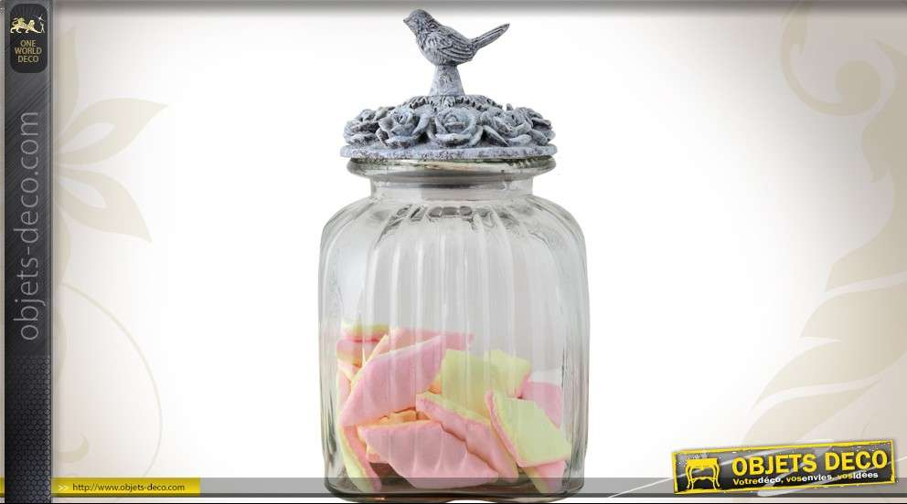 pot en verre avec couvercle d co oiseaux et roses. Black Bedroom Furniture Sets. Home Design Ideas