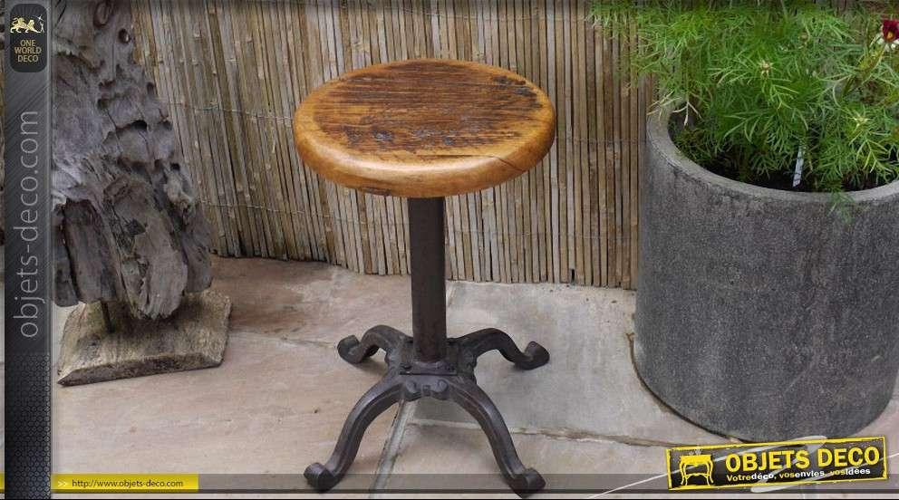 tabouret rond de style industriel en bois et m tal. Black Bedroom Furniture Sets. Home Design Ideas