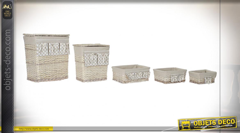 Série de 5 corbeilles de rangement en osier finition naturelle blanchie ambiance campagne chic, 55cm