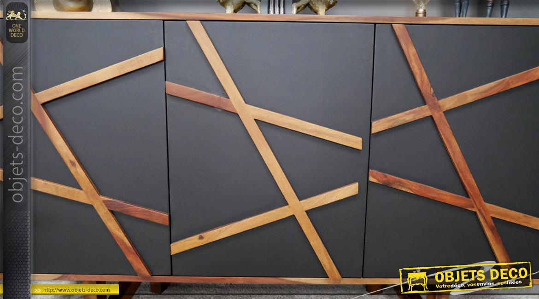Buffet à trois portes en bois de sheesham massif, habillage géométrique de la partie frontale sur fond ardoise, ambiance épurée chic, 140cm