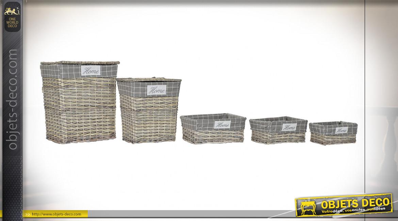 Série de 5 corbeilles de rangement en osier finition naturelle vieillie, 55cm