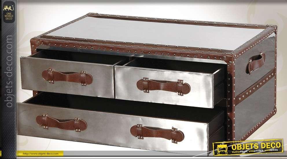 Et De Vintage Métal Forme Cuir En Basse Coffre Table 8POn0wkX