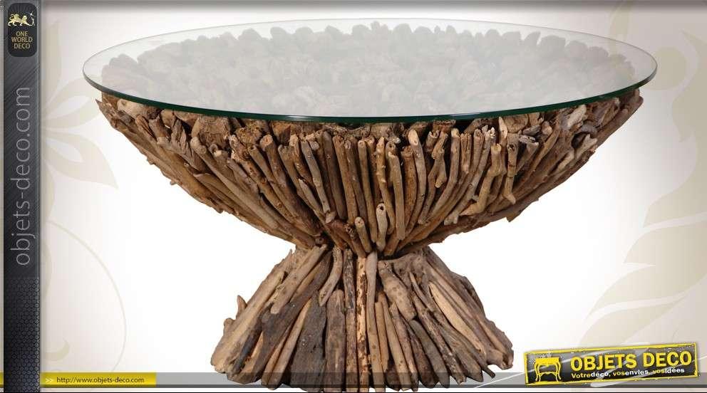 Table Basse Ronde En Bois Flotte Et Verre