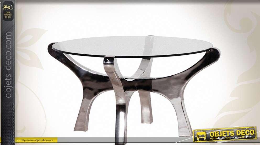taille 40 ecbc5 61f1c Table basse ronde design en nickel et verre