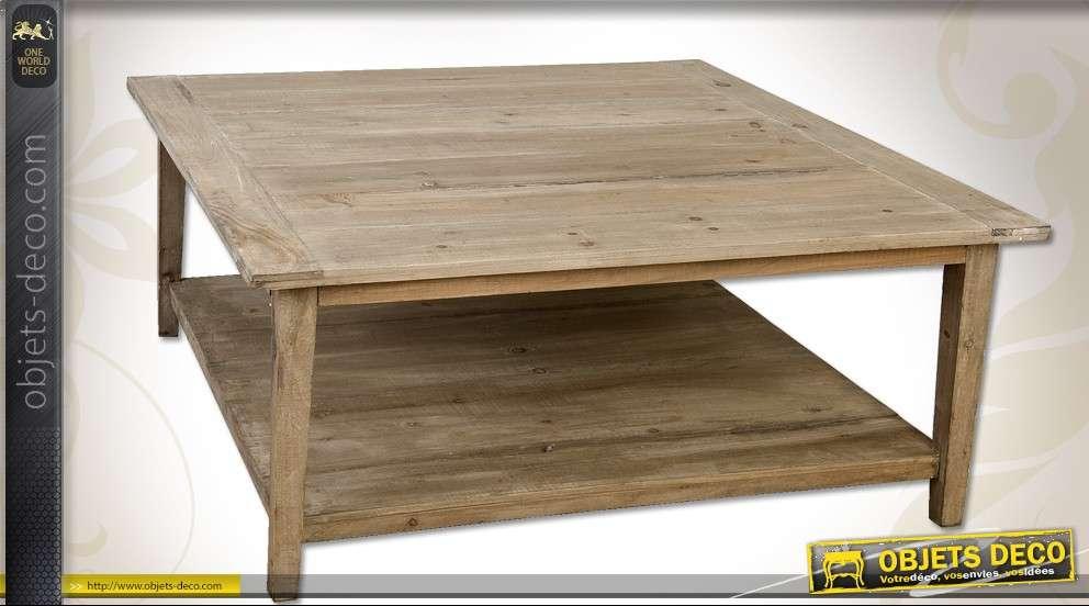 Carrée Table Basse Avec En Plateaux Pin Aspect Bois Recyclé Deux QrtsxBodCh