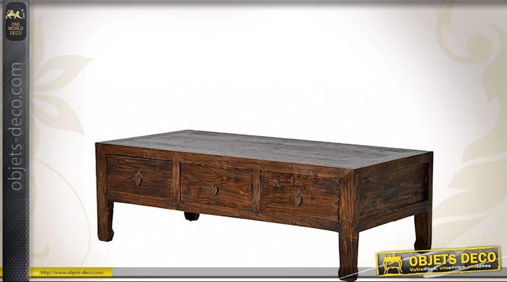 Avec Table Style Massif De En Trois Oriental Orme Basse Tiroirs 35j4ARLq