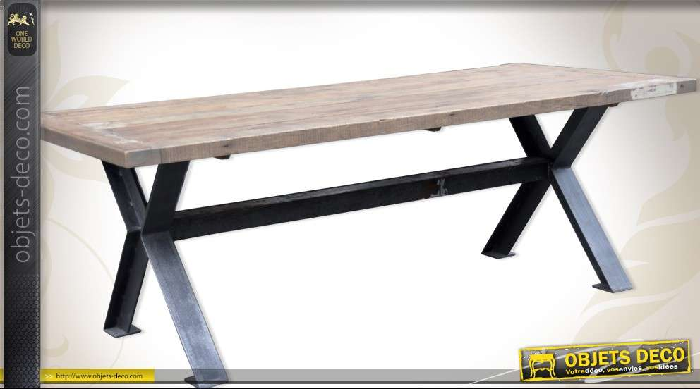 Table de salle manger en bois massif et m tal style - Table de salle a manger en bois massif ...