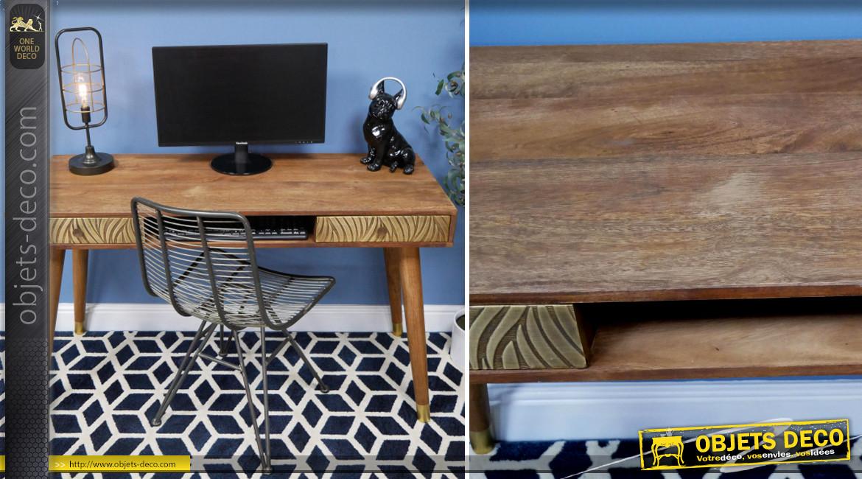 Bureau d'appoint en bois massif et laiton, 2 tiroirs habillés de zébrures en relief finition dorée brossé, 130cm