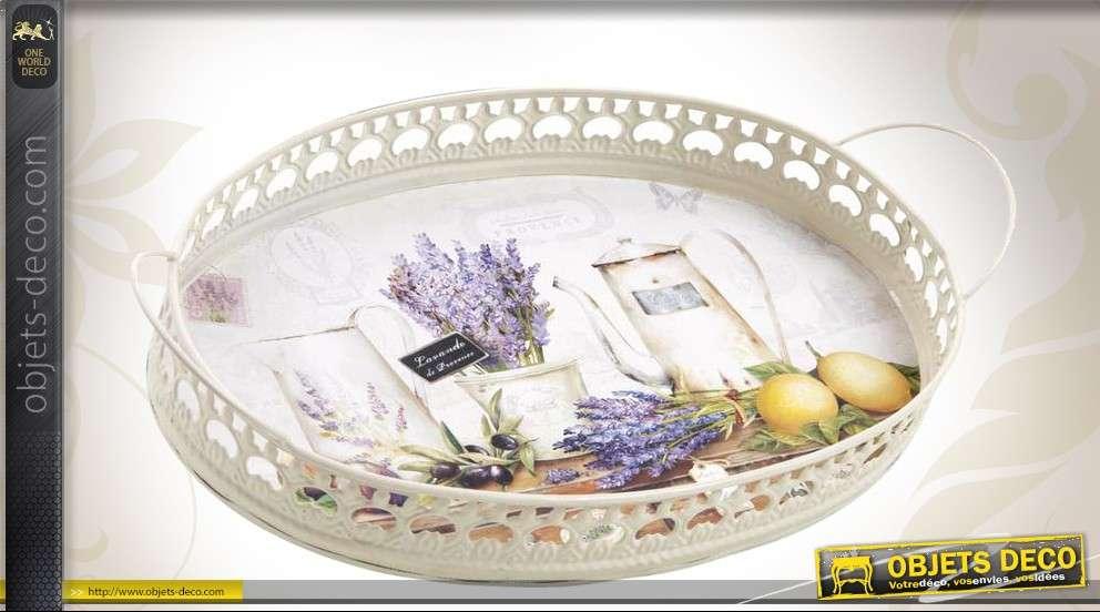 Série de 2 plateaux ovales en métal laqué motif Provence