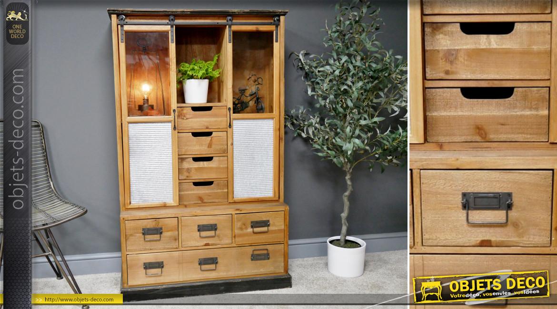 Meuble d'appoint en bois de sapin avec portes vitrées coulissantes, 8 tiroirs de rangements, ambiance rustique industrielle, 138cm