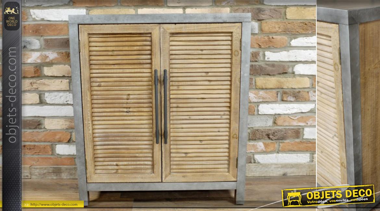 Meuble buffet à deux portes esprit volets en bois, structure en métal ambiance inox brossé, 90cm