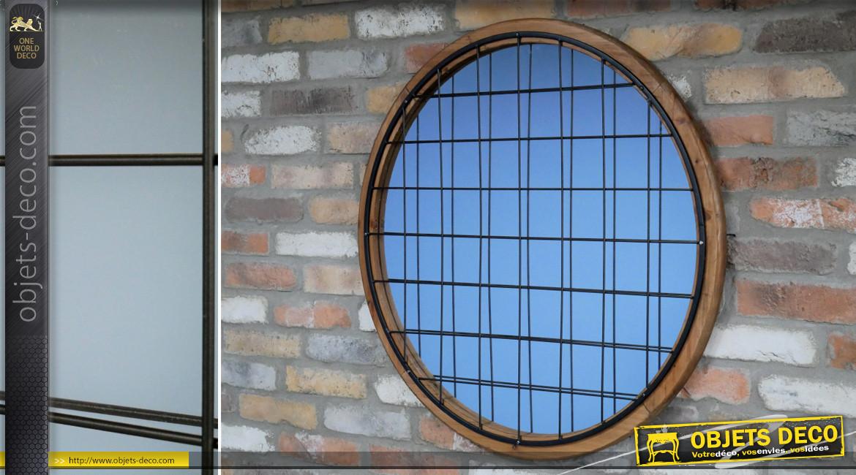 Grand miroir mural rond en bois et métal, finition brute et noir charbon ambiance hublot de bateau, Ø82cm