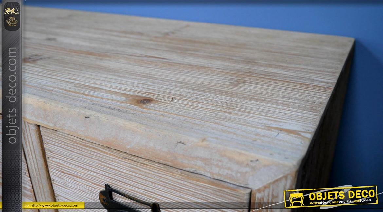 Meuble d'appoint esprit de métier avec 18 tiroirs en bois finition blanchie usée, boulons apparents et poignées porte-étiquettes, 87cm