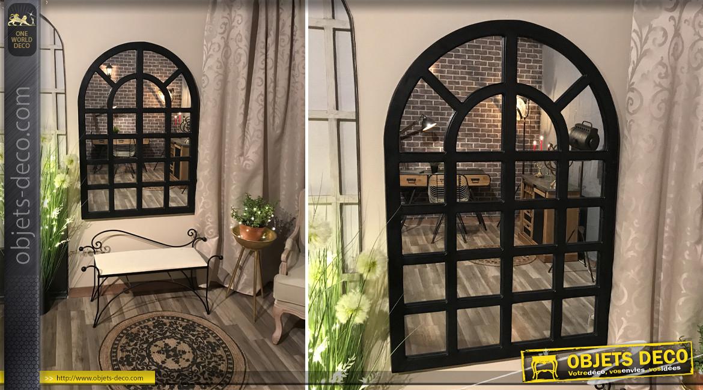Grand miroir en bois en forme d'ouverture arrondie, finition noir charbon ambiance fenêtre d'atelier, 130cm