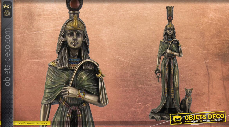Statuette de Nefertiti, La grande épouse royale, en résine finition vieux bronze, ambiance ancienne égypte, collection Divinités, 27cm