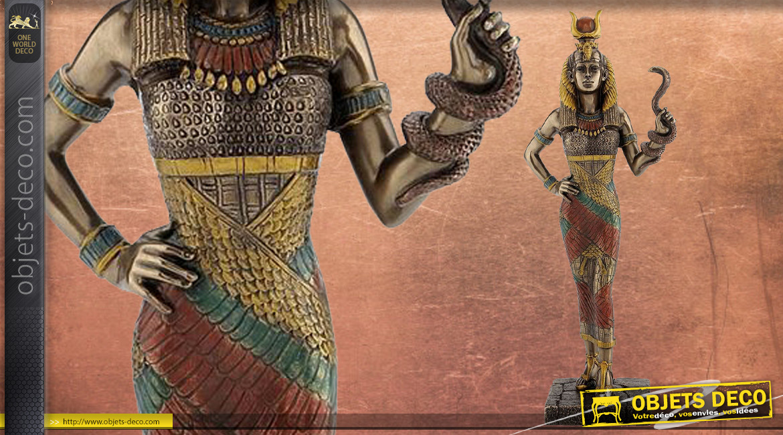 Statuette de Hathor, déesse de l'amour et de la maternité, en résine finition vieux bronze, collection Divinités, 28cm