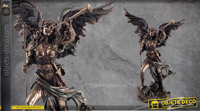Archange Gabriel, représentation de l'ange suprême envoyé de Dieu, en résine finition bronze effet ancien, collection Terre des Dieux, 31cm
