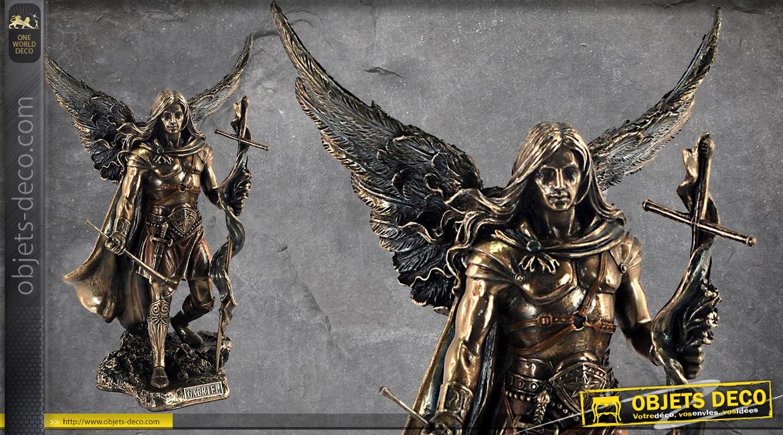 Archange Gabriel, représentation du seigneur des anges, en résine finition bronze effet ancien, collection Terre des Dieux, 24cm