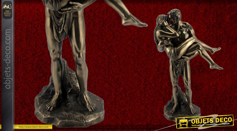 Amour et soutien, représentation d'un couple en résine, fintion bronze effet vieilli, collection Amoureux éternels, 28cm