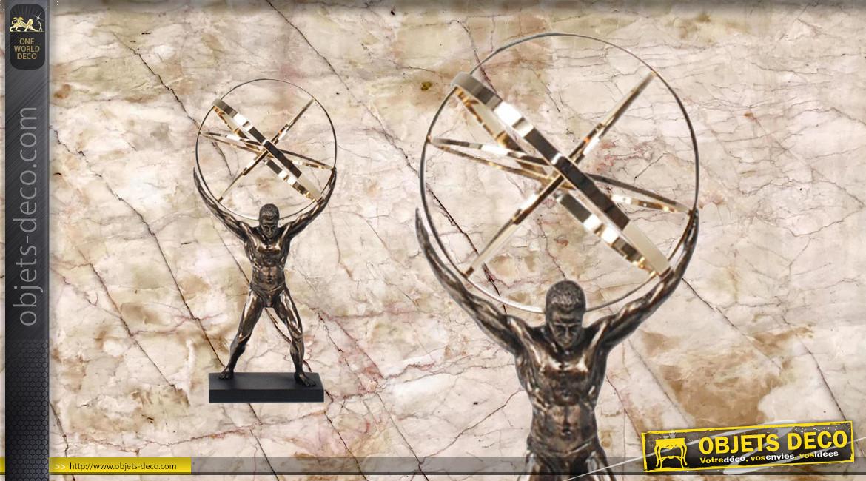 Atlas, représentation du titan qui porte le monde, en résine et métal, ambiance contemporaine, 22cm