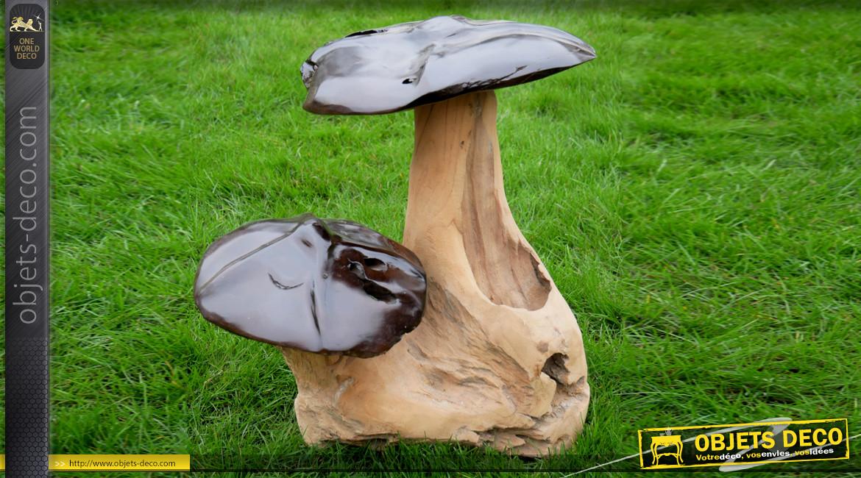 Sculpture de champignons en teck massif recyclé, ambiance rustique finitions naturelles, 45cm