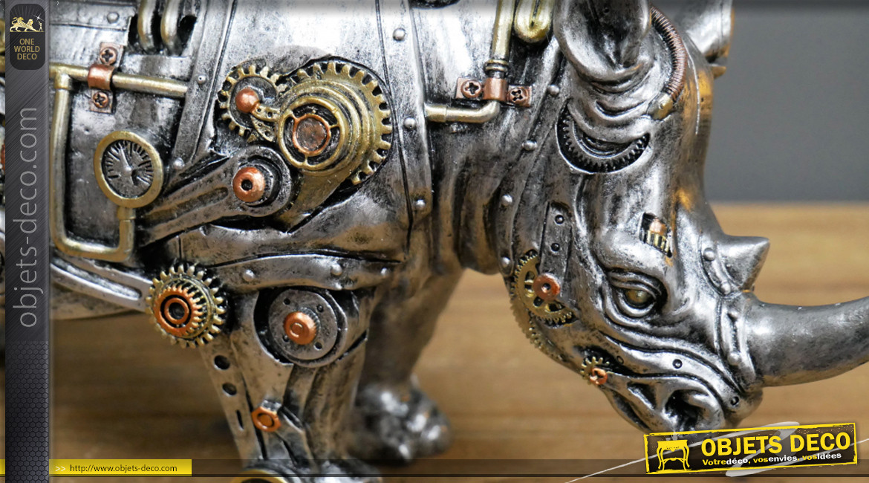 Rhinocéros en version Steampunk, décoration en résine effet métal, finition dorée et cuivrée, ambiance moderne période victorienne, 32cm