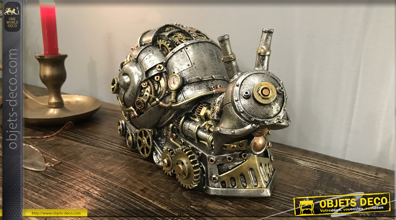 Escargot en version Steampunk, décoration animalière à poser finition cuivre et dorée effet métal, ambiance robots et machines, 26cm