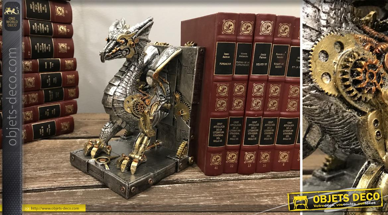 Paire de serre livres en résine en forme de dragon, effet métal anthracite avec engrenages dorés et cuivrés, collection Steampunk, 20cm