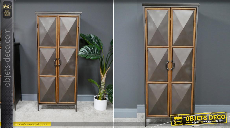 Meuble d'appoint en bois et métal, ambiance industrielle chic, portes en forme de diamants, ambiance contrastée, 138cm