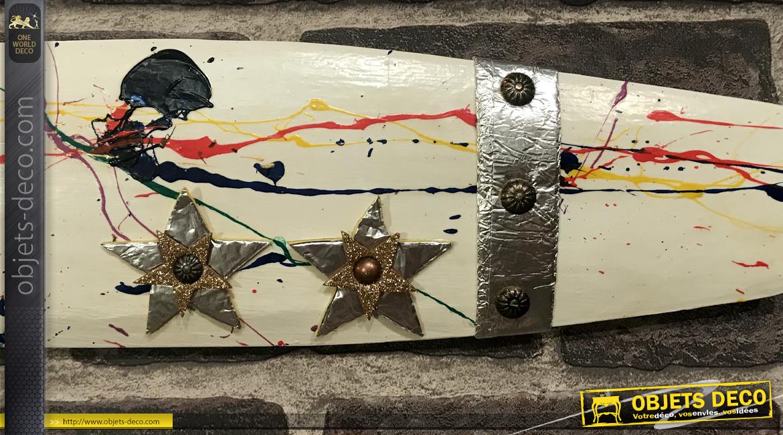 Hélice d'avion décorative en bois et ornements métalliques, modèle Léopoldoff Colibri 1930, 120cm