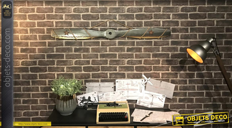 Hélice d'avion décorative en bois et ornements en métal, corde et cuir, modèle Douglas 0-38, 120cm