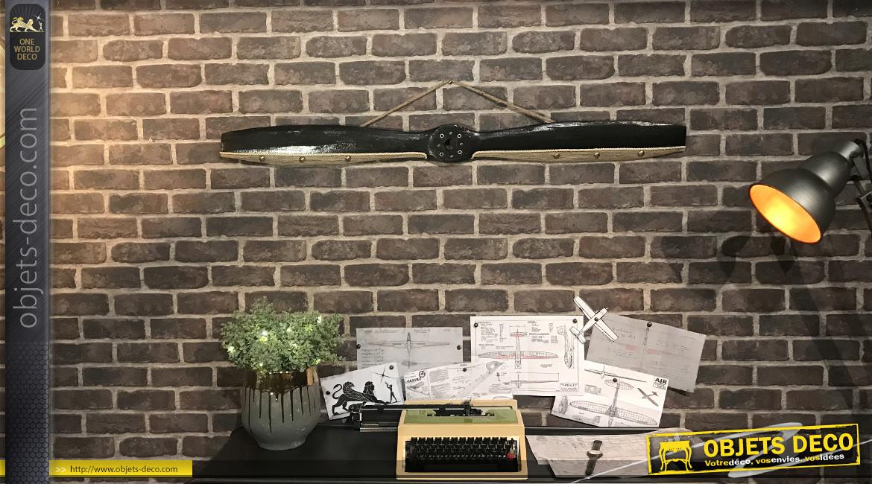 Hélice d'avion décorative en bois, ornements en métal et toile de lin naturelle, modèle Sopwith Camel 1916, 120cm