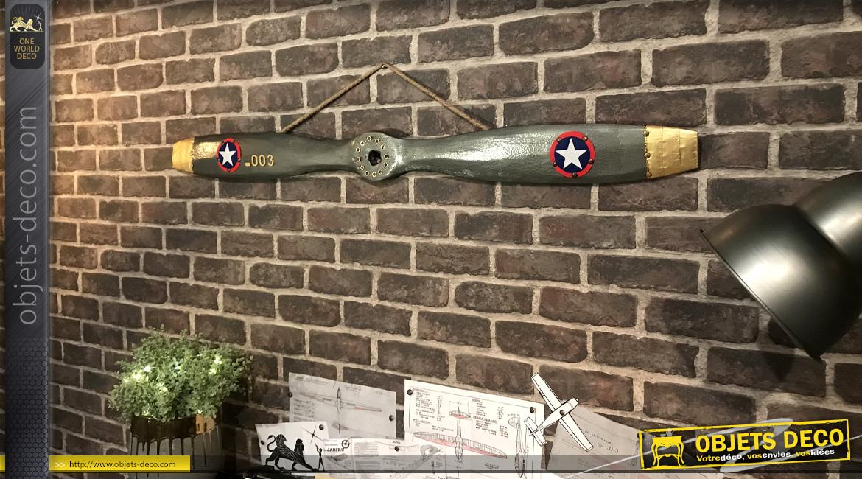 Hélice d'avion décorative en bois finition métal, ornement en métal effet laiton et feutrine, modèle Royal Aircraft Factory 1914, 120cm