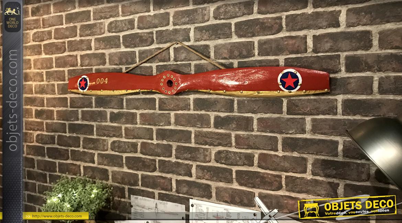 Hélice d'avion décorative en bois, fond rouge anglais et ornements en métal effet laiton, modèle Royal Aircraft Factory SE5 de 1917, 120cm