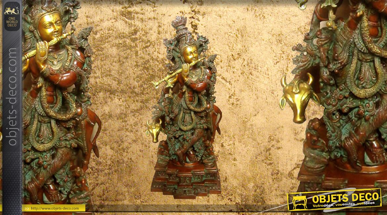 Sculpture en laiton massif représentant la déese Krishna avec un animal sacré, finition effet vieilli, 35kg - 70cm