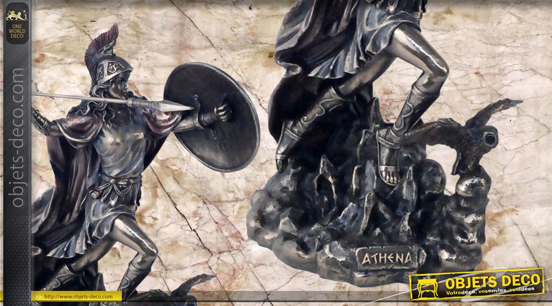 Athéna, représentation de la déese de la guerre en résine finition vieux bronze, collection Mythologie grecque, 19cm