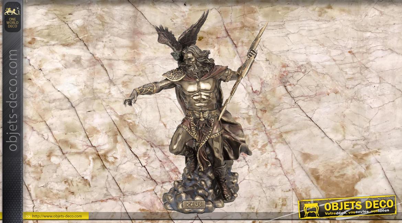 Zeus, représentation du dieu du ciel et de la foudre, en résine finition vieux bronze, collection Mythologie grecque, 50 cm