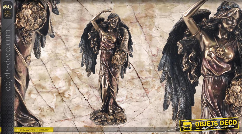 Fortune, représentation de la déesse de la fortune, en résine finition bronze effet ancien, collection Mythologie Grecque, 28cm